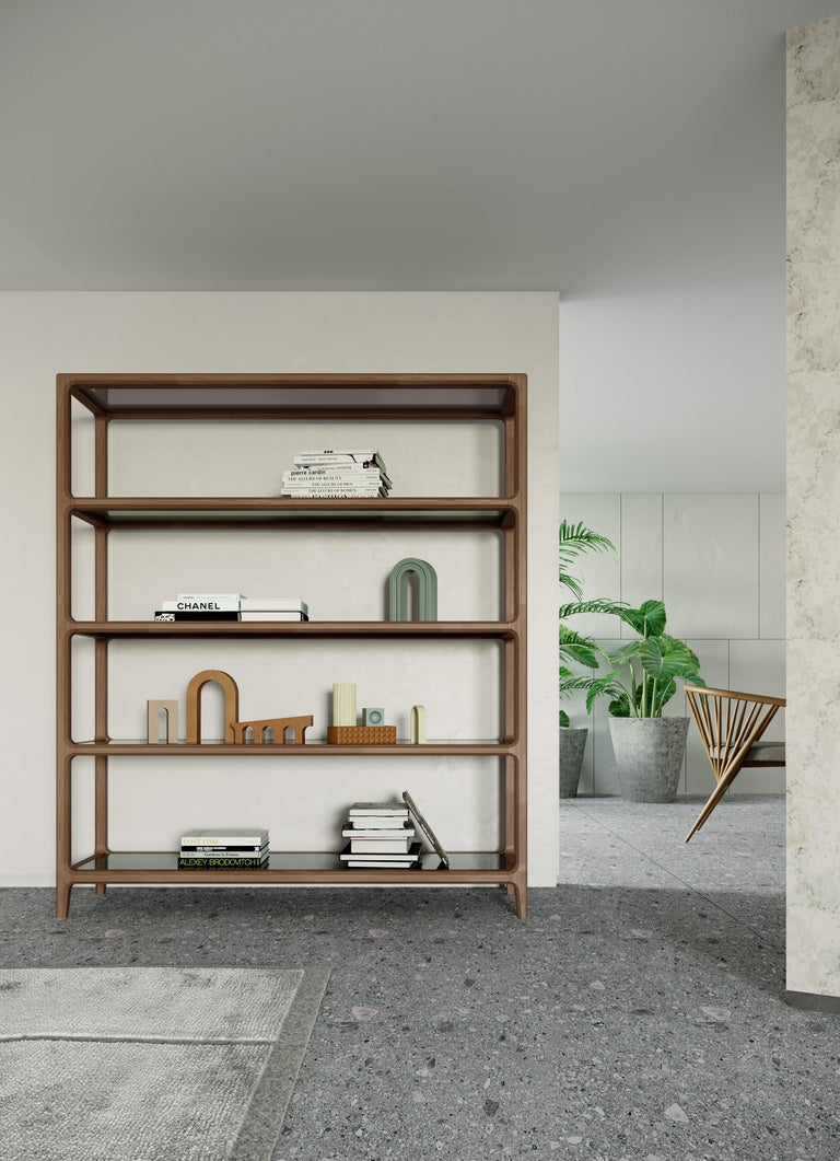 Contemporary Bellagio Bookcase in Ashwood with Glass Shelves  For Sale 6