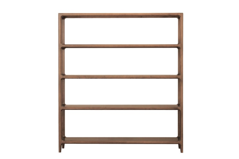 Contemporary style Bellagio bookcase made of ashwood with glass shelves, characterized by angled bevels, which make the structure thinner and lighter, though resistant.   Design Libero Rutilo  Available in different wood colors and glass finishes.