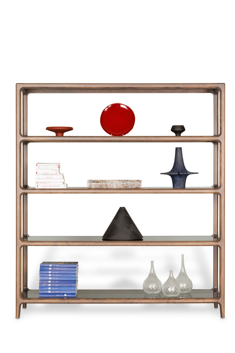 Italian Contemporary Bellagio Bookcase in Ashwood with Glass Shelves  For Sale