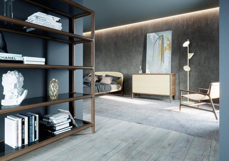 Contemporary Bellagio Bookcase in Ashwood with Glass Shelves  For Sale 4