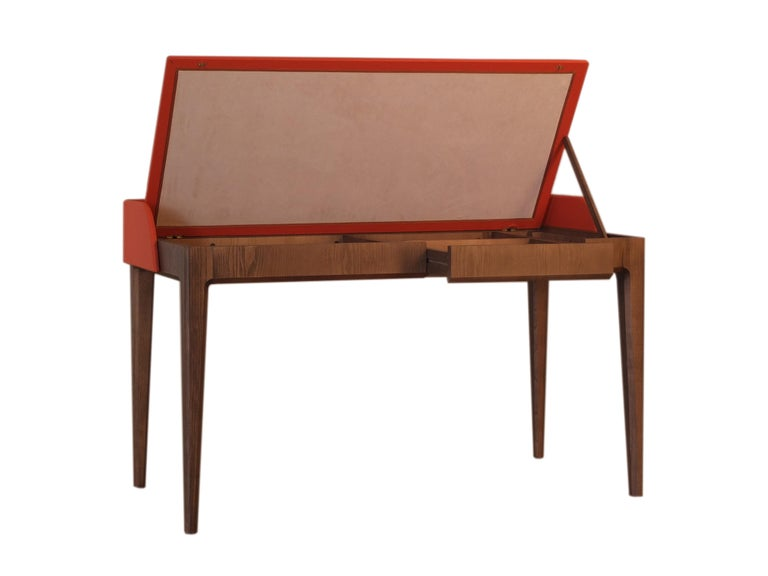 Contemporary Bellagio Desk by Morelato, made of Ashwood with Leather Flapping Top For Sale
