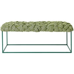 "Contemporary Bench, Handwoven, the ""Cloud"" in Green"