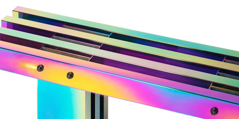 Contemporary Bench, HOT Collection, Gradient Stainless Steel 'Large' For Sale 6