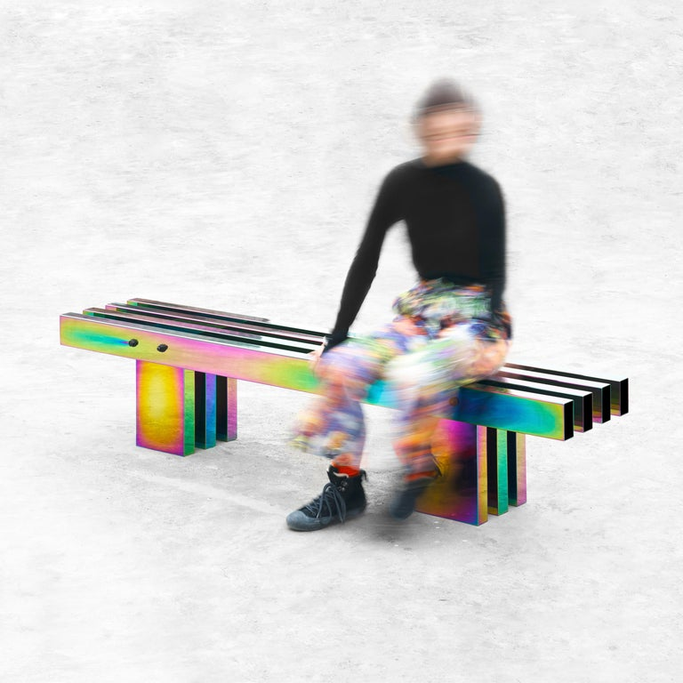 Contemporary Bench, HOT Collection, Gradient Stainless Steel 'Large' For Sale 11