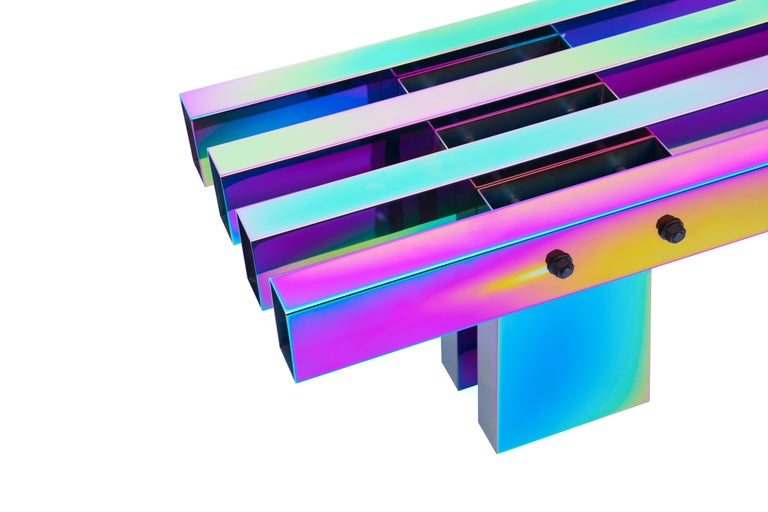 Contemporary Bench, HOT Collection, Gradient Stainless Steel 'Large' For Sale 12