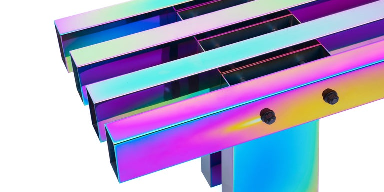 Contemporary Bench, HOT Collection, Gradient Stainless Steel 'Large' For Sale 13