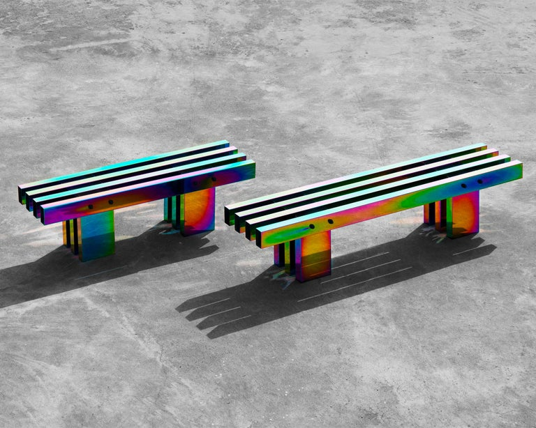 """Bench or coffee table Electroplated stainless steel  Medium size: 35 x 130 x 40 cm Large size: 35 x 180 x 40 cm   Production lead time: 3 to 4 weeks  Side table from """"HOT"""" collection, a creation by Buzao design studio. Close to Bentu"""