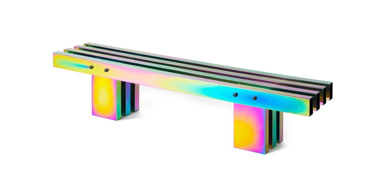 Chinese Contemporary Bench, HOT Collection, Gradient Stainless Steel 'Large' For Sale