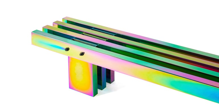 Contemporary Bench, HOT Collection, Gradient Stainless Steel 'Large' For Sale 1