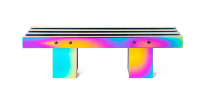Contemporary Bench, HOT Collection, Gradient Stainless Steel 'Large' For Sale 3