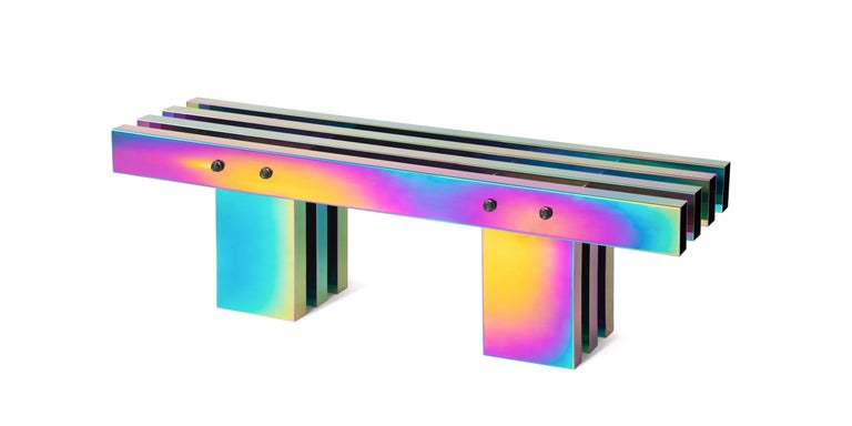 Contemporary Bench, HOT Collection, Gradient Stainless Steel 'Large' For Sale 4