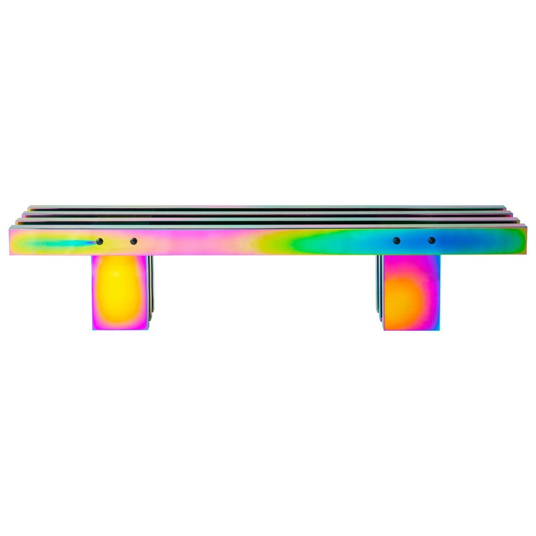Contemporary Bench, HOT Collection, Gradient Stainless Steel 'Large' For Sale