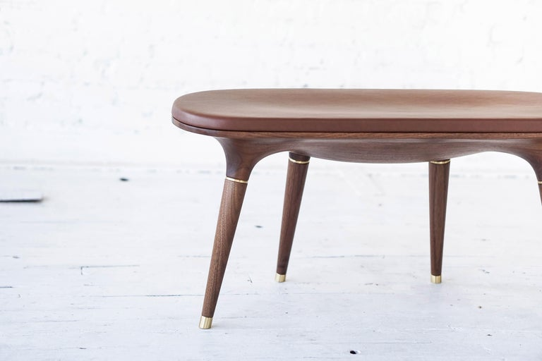 Organic Modern Contemporary Bench in Carved Walnut with Natural Finish, Brass and Leather For Sale