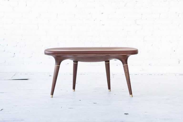 American Contemporary Bench in Carved Walnut with Natural Finish, Brass and Leather For Sale