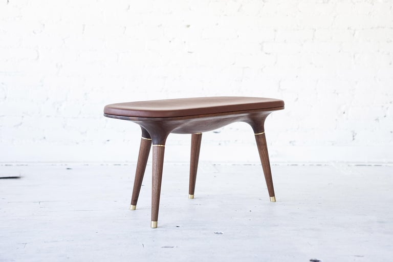 Contemporary Bench in Carved Walnut with Natural Finish, Brass and Leather For Sale 1