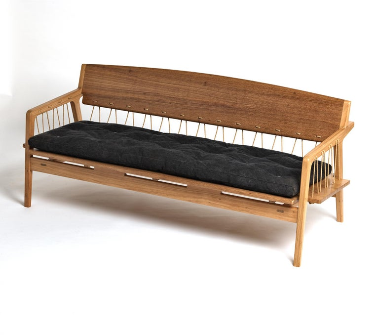 Brazilian Contemporary Bench in Tropical Hardwood and Cord by Ricardo Graham Ferreira For Sale