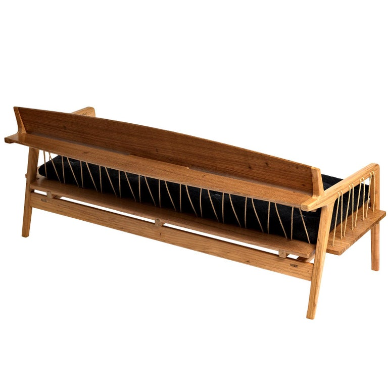 Contemporary Bench in Tropical Hardwood and Cord by Ricardo Graham Ferreira For Sale
