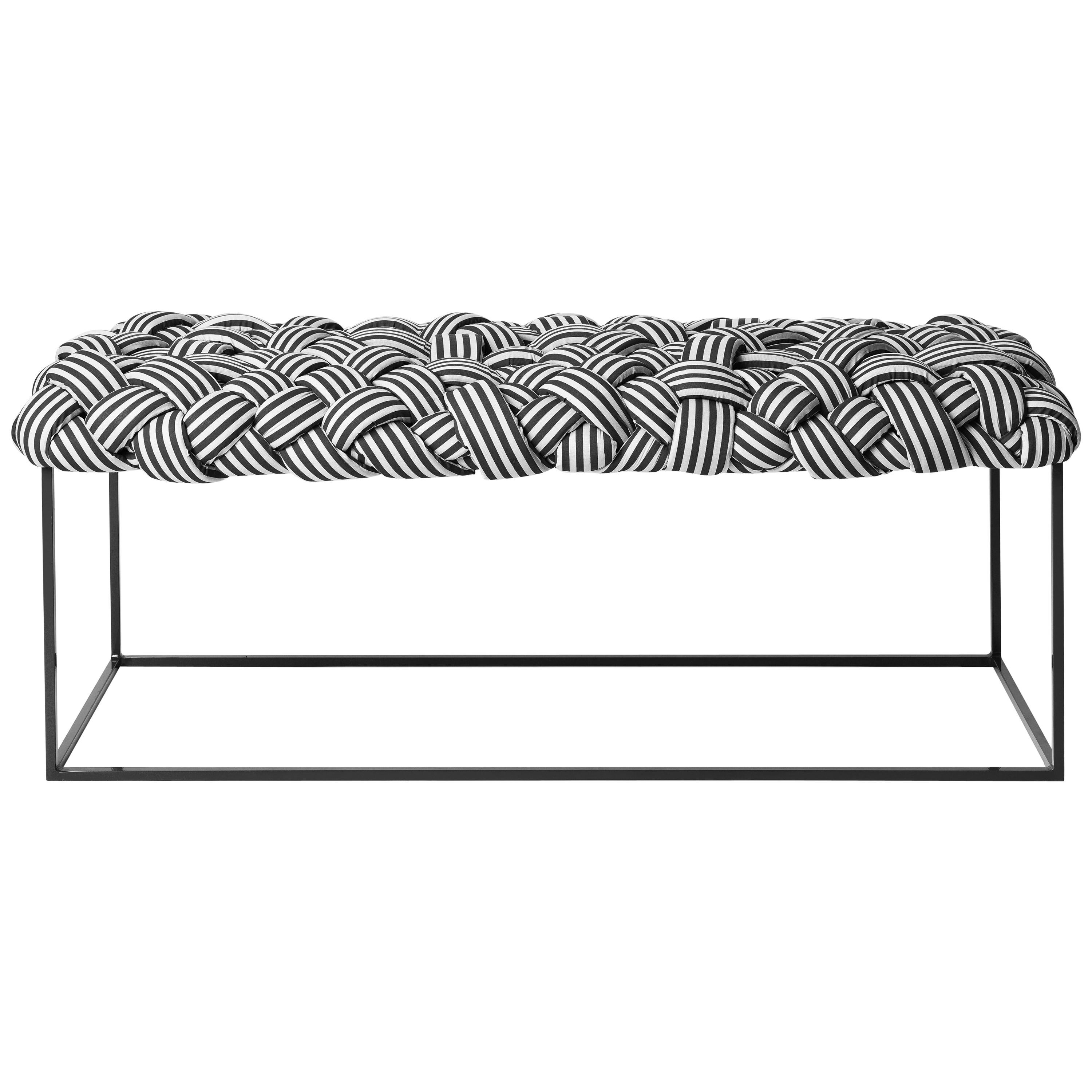 Contemporary Bench with Handwoven B&W Upholstery