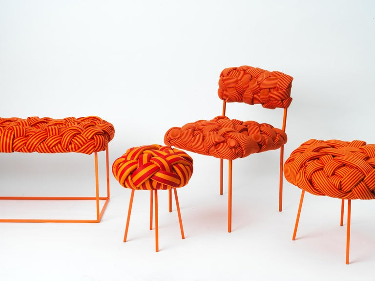 Brazilian Contemporary Bench with Handwoven Orange Upholstery For Sale