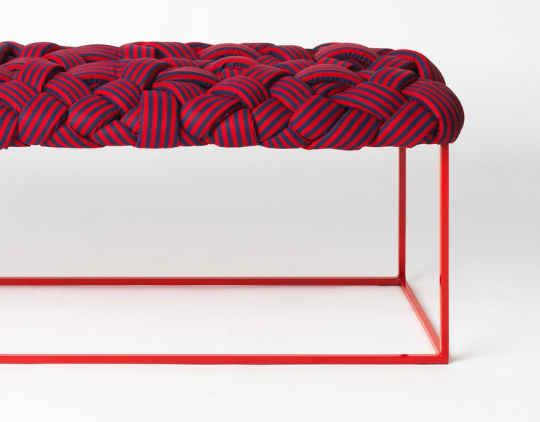 Fabric Contemporary Bench with Handwoven Orange Upholstery For Sale