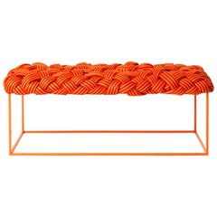 Contemporary Bench with Handwoven Orange Upholstery