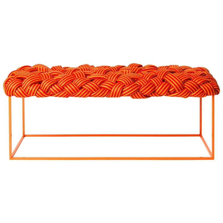 Contemporary Bench with Handwoven Orange Upholstery For Sale