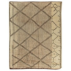 Contemporary Beni Ourain Custom Moroccan Beige and Brown Hand Knotted Wool Rug