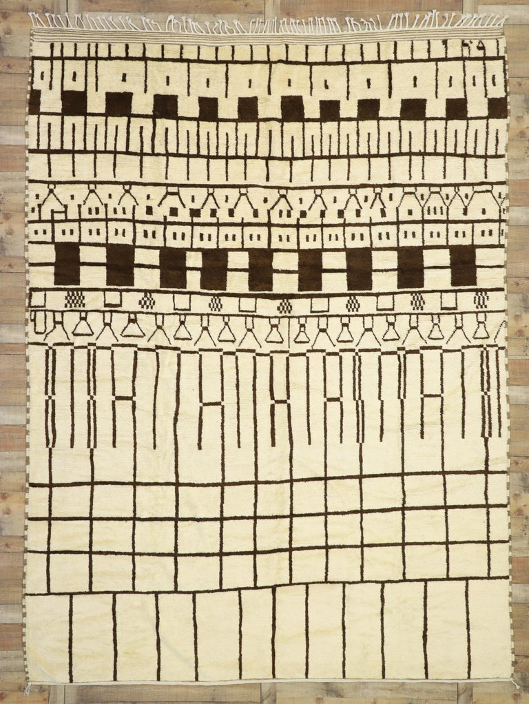 Contemporary Berber Moroccan Area Rug With Geometric