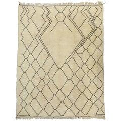 Contemporary Berber Moroccan Oversize Rug with Asymmetrical Lozenge Design