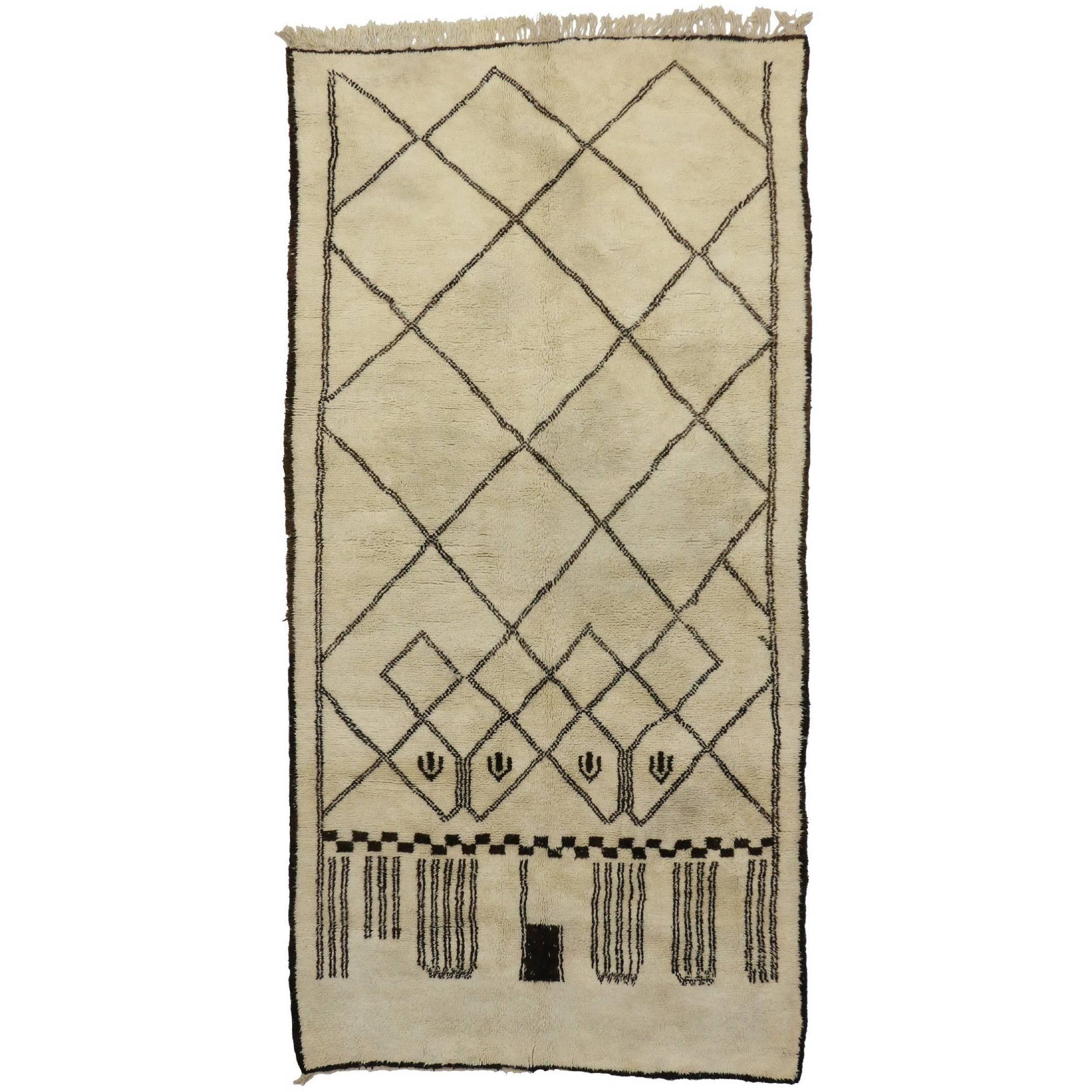 Vintage Berber Moroccan Rug with Modern Bauhaus Style