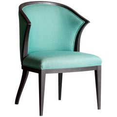 Contemporary Bergère Armchair or Desk Chair with Round Back and Upholstery