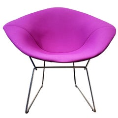 Contemporary Bertoia Diamond Chair Steel Wire Frame Purple Upholstery