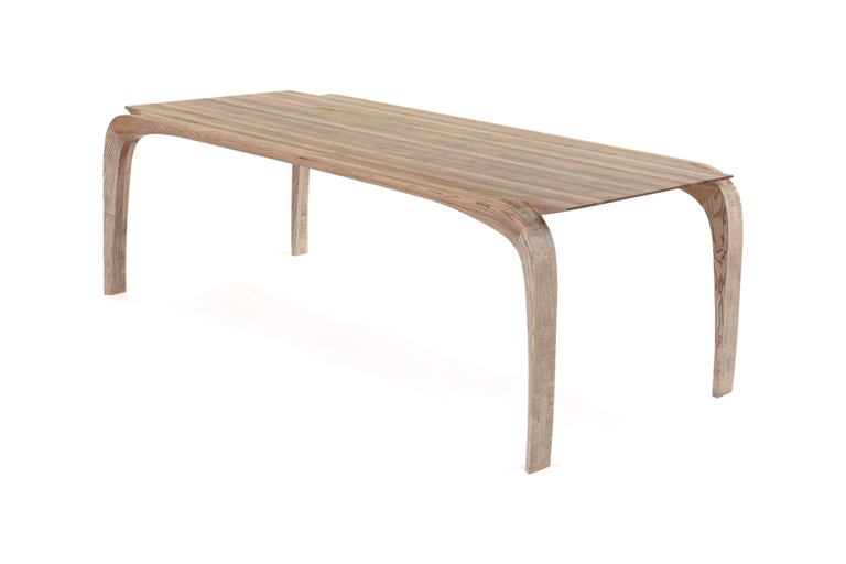 Modern Contemporary Bespoke Ash Dining Table, Hand Carved Legs by Jonathan Field For Sale