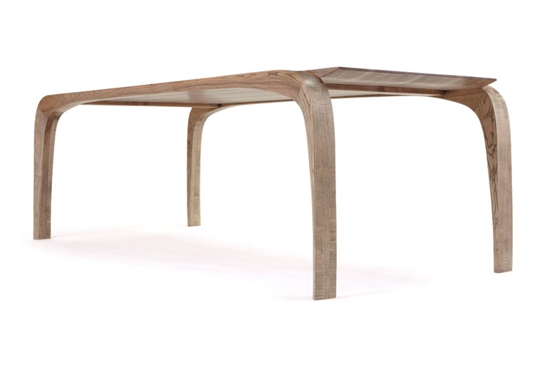 English Contemporary Bespoke Ash Dining Table, Hand Carved Legs by Jonathan Field For Sale