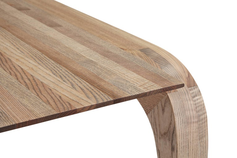 Hand-Carved Contemporary Bespoke Ash Dining Table, Hand Carved Legs by Jonathan Field For Sale