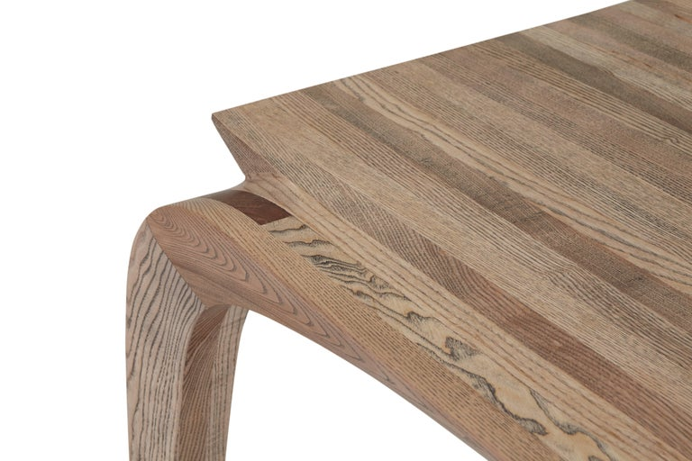 Contemporary Bespoke Ash Dining Table, Hand Carved Legs by Jonathan Field In New Condition For Sale In London, GB