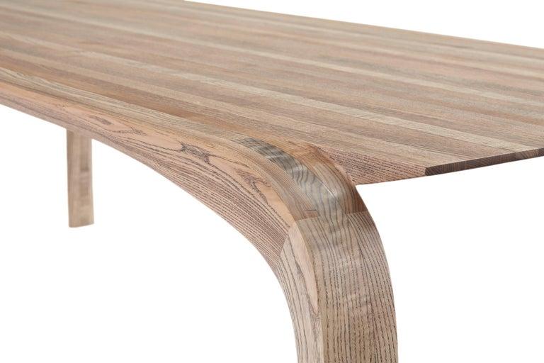 Contemporary Bespoke Ash Dining Table, Hand Carved Legs by Jonathan Field For Sale 3