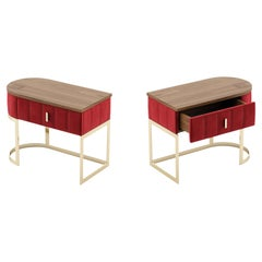 Contemporary Bespoke Bedside Tables in Walnut and Red Velvet