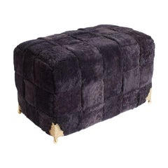 Contemporary Bespoke Black Shearling Ottoman with Brass Legs