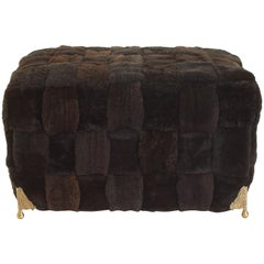 Contemporary Bespoke Brown Shearling Ottoman with Brass Legs