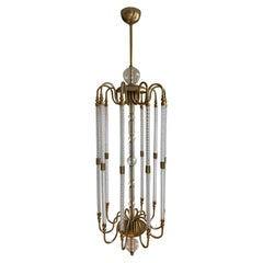 Contemporary Bespoke Italian Monumental Murano Glass Antique Brass Open Lantern