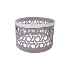 Contemporary Bespoke Vienna 10 Bicolor Lt Grey/Graphite Leather Basket