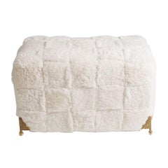 Contemporary Bespoke White Shearling Ottoman with Brass Legs