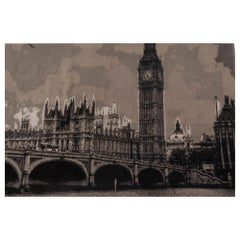Contemporary Big Ben Black and Gray Handwoven Wool Rug