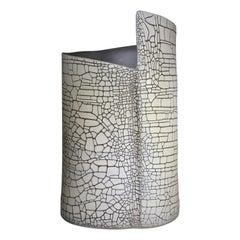 "Contemporary Birch Inspired ""Craquele Design"" Ivory and Grey Vase"