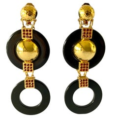 Contemporary Black and Gold Architectural Statement Earrings