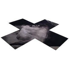 Contemporary Black and Grey X-Shaped Wool Rug by Henzel Studio
