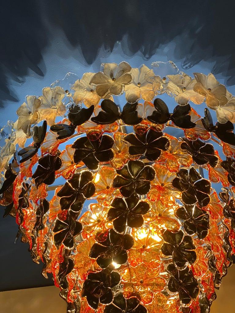 Modern Contemporary Black and Orange Flower Stunning Murano Glass Chandelier For Sale
