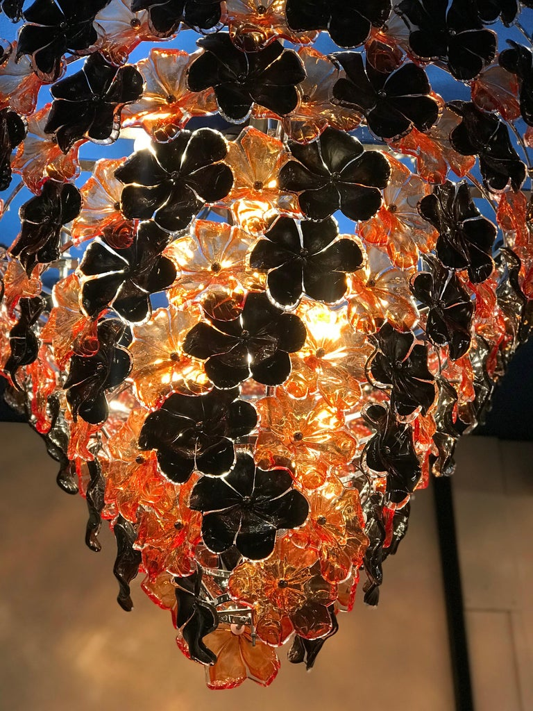 Blown Glass Contemporary Black and Orange Flower Stunning Murano Glass Chandelier For Sale