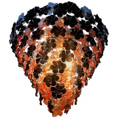 Contemporary Black and Orange Flower Stunning Murano Glass Chandelier